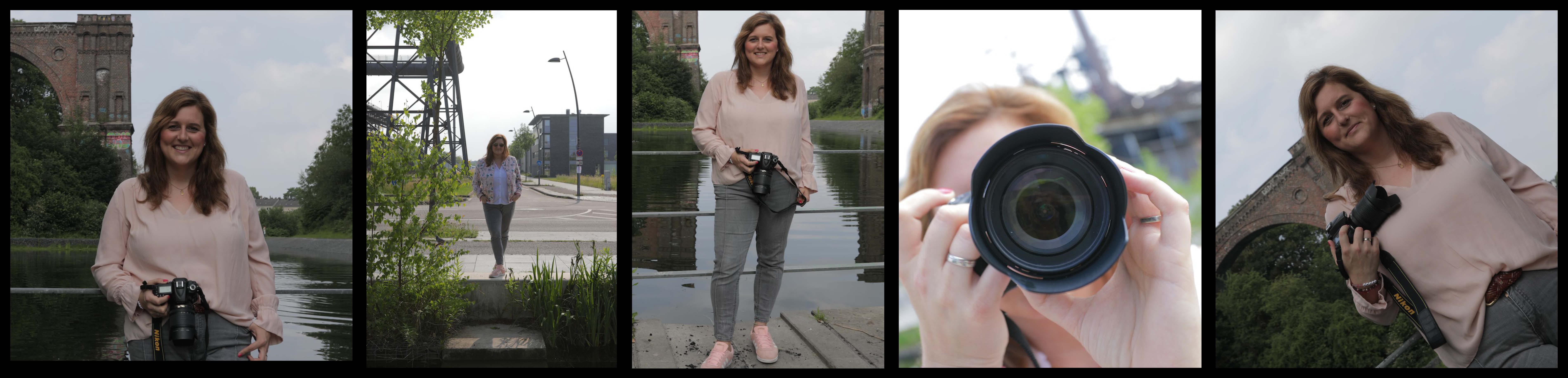 Video-und-Online-Content - den gibt es von Sarah Dunkel. Hier sieht man die Videojournalistin und Online-Redakteurin auf einem Fotostreifen mit fünf verschiedenen Einstellungen.